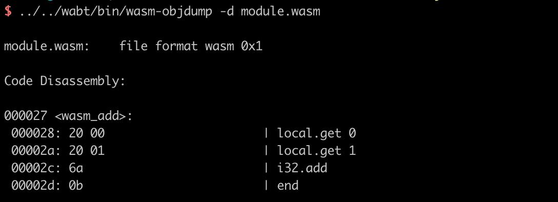 sử dụng công cụ wasm-objdump giúp việc hiển thị byte-code bên trong tập tin WASM nhị phân module.wasm