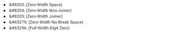 tấn công zero-width-spaces