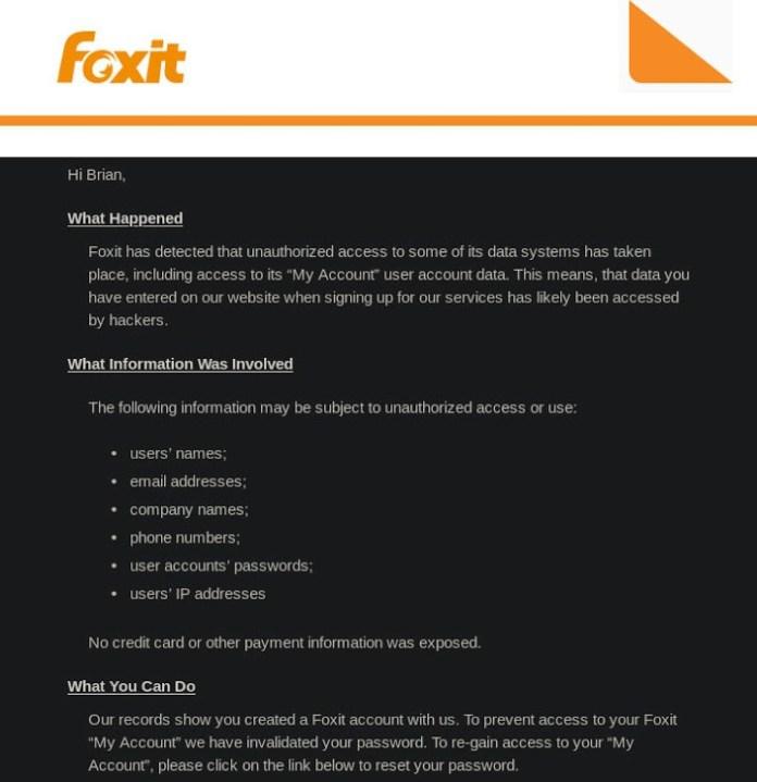 email của foxit gửi cho người dùng bị ảnh hưởng