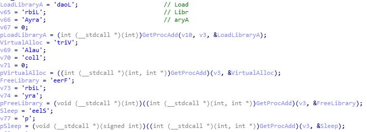 địa chỉ của hàm GetProcAdd trong vùng nhớ của Kernel32.dll.
