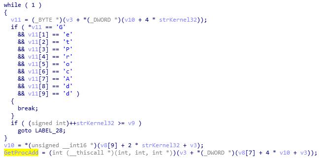 Mã độc tìm địa chỉ của Kernel32.dll trong bộ nhớ.