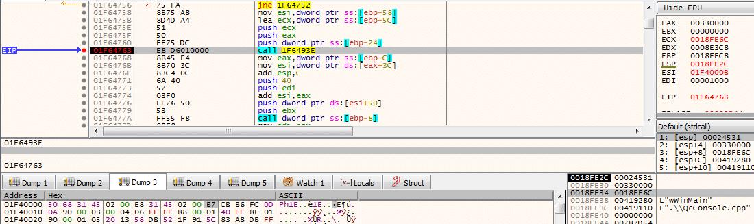 Tạo một vùng nhớ mới và giải mã dữ liệu vào vùng nhớ này