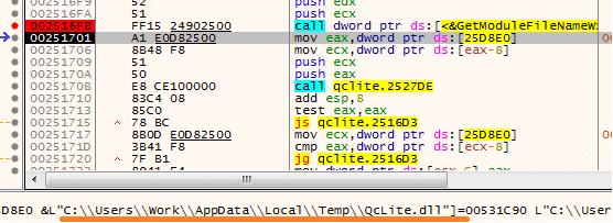 load thư viện QcLite.dll và chạy code của QcLite.dll