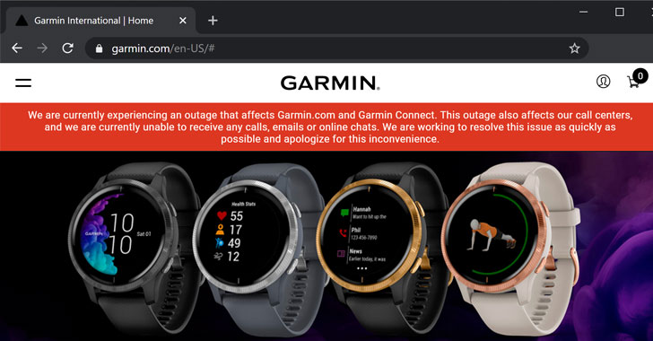 Nhà sản xuất Smartwatch Garmin bị tấn công ransomware